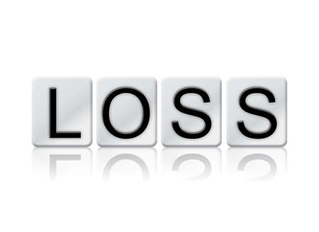 The word Loss concept and theme written in white tiles and isolated on a white background. Banco de Imagens