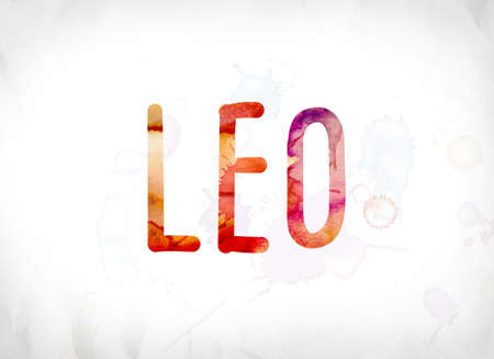 The word Leo concept and theme painted in colorful watercolors on a white paper background.