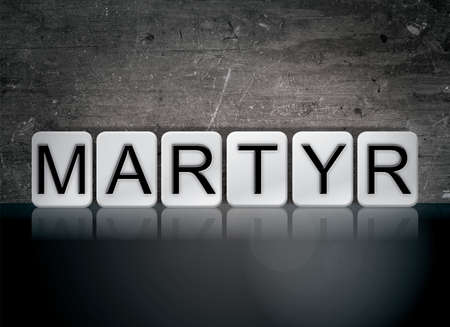 The word Martyr concept and theme written in white tiles on a dark background.