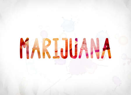 The word Marijuana concept and theme painted in colorful watercolors on a white paper background.