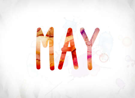 The word May concept and theme painted in colorful watercolors on a white paper background. Stock Photo