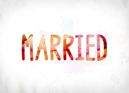 The word Married concept and theme painted in colorful watercolors on a white paper background.