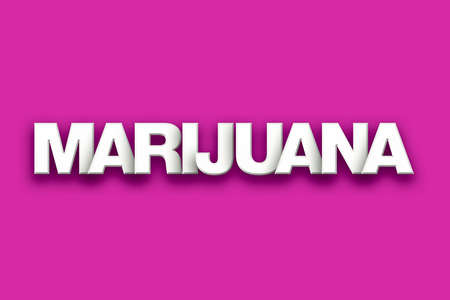 The word Marijuana concept written in white type on a colorful background. Stock Photo