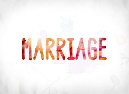 The word Marriage concept and theme painted in colorful watercolors on a white paper background. 版權商用圖片