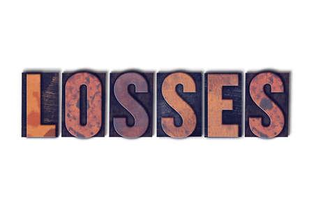 単語の損失の概念と白地にヴィンテージの木製活版型で書かれたテーマ。 写真素材