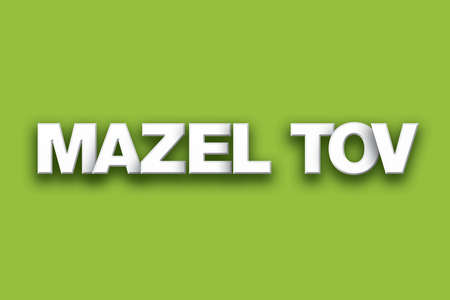 The words Mazel Tov concept written in white type on a colorful background.