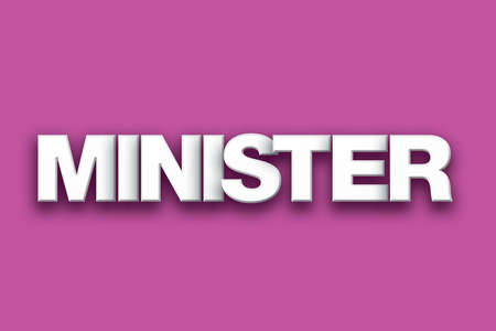The word Minister concept written in white type on a colorful background. Stock Photo - 82404435