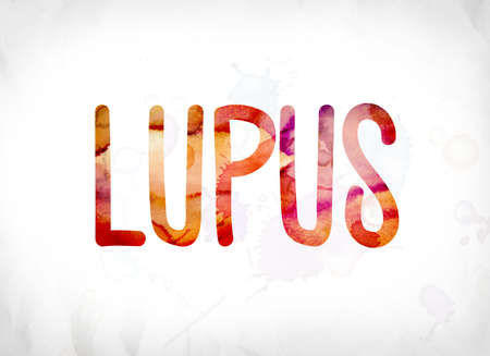 The word Lupus concept and theme painted in colorful watercolors on a white paper background.