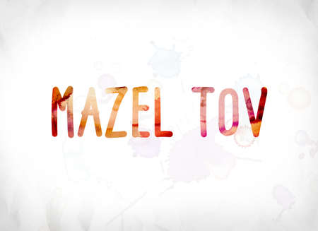 The words Mazel Tov concept and theme painted in colorful watercolors on a white paper background. Banco de Imagens