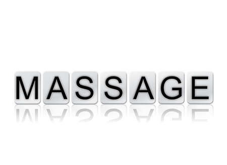 The word Massage concept and theme written in white tiles and isolated on a white background. Stock Photo - 82404469