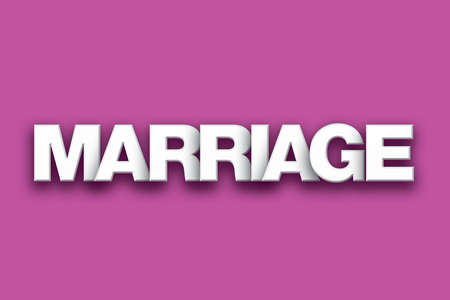 The word Marriage concept written in white type on a colorful background.
