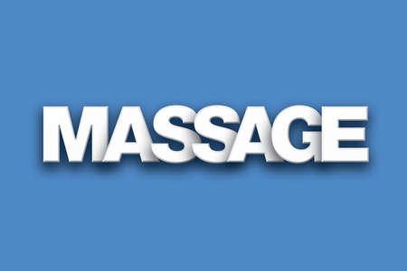 The word Massage concept written in white type on a colorful background.