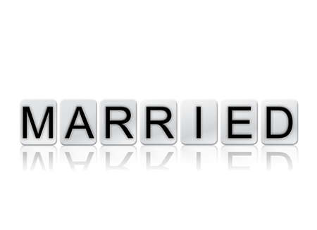 The word Married concept and theme written in white tiles and isolated on a white background.