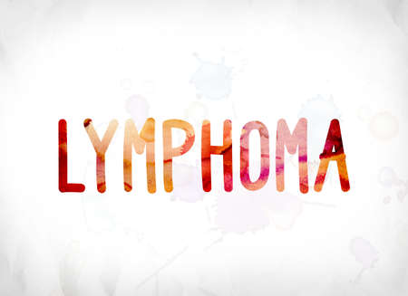 tumors: The word Lymphoma concept and theme painted in colorful watercolors on a white paper background. Stock Photo