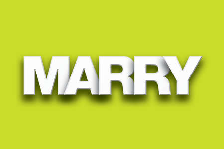 unify: The word Marry concept written in white type on a colorful background. Stock Photo