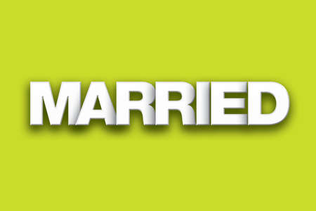 The word Married concept written in white type on a colorful background.