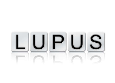 The word Lupus concept and theme written in white tiles and isolated on a white background. Stock Photo
