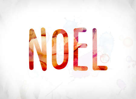 The word Noel concept and theme painted in colorful watercolors on a white paper background.