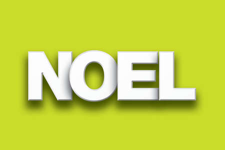The word Noel concept written in white type on a colorful background.