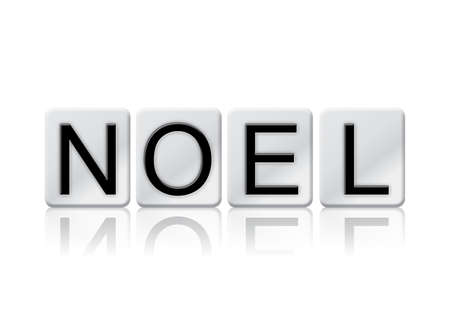 The word Noel concept and theme written in white tiles and isolated on a white background.