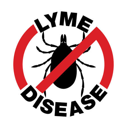 lyme disease: An anti Lyme Disease tick bite infection icon illustration. Vector EPS 10 available.