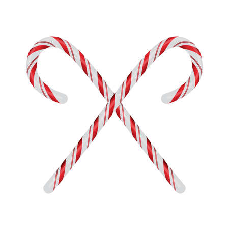 Realistic red and white Christmas candycanes crossed and isolated on a white background illustration. Vector EPS 10 available.