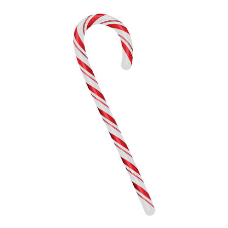 A realistic red and white Christmas candycane isolated on a white background illustration. Vector EPS 10 available. Reklamní fotografie - 82596064