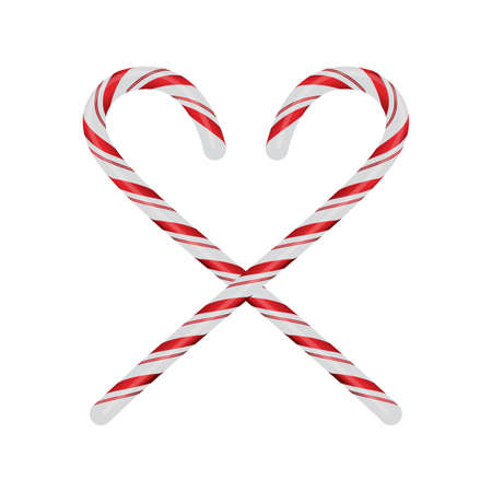 Realistic red and white Christmas candycanes crossed and isolated on a white background illustration. Vector EPS 10 available. Reklamní fotografie - 82596065