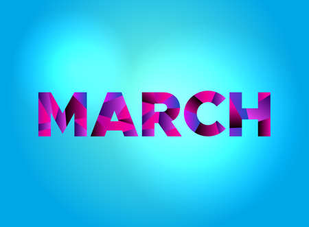 The word MARCH written in colorful fragmented word art on a vibrant background. Vector EPS 10 available.