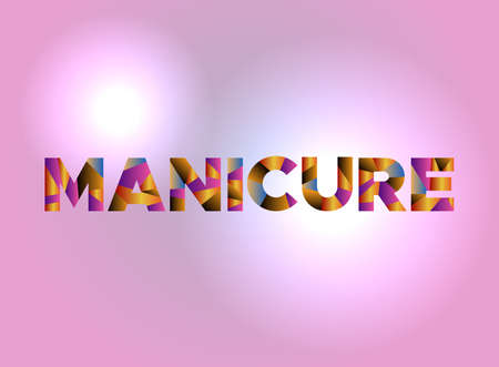 The word MANICURE written in colorful fragmented word art on a vibrant background. Vector EPS 10 available.