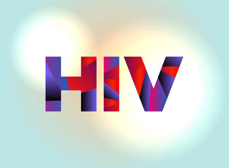 The letters HIV written in colorful abstract word art on a vibrant background. Vector EPS 10 available.