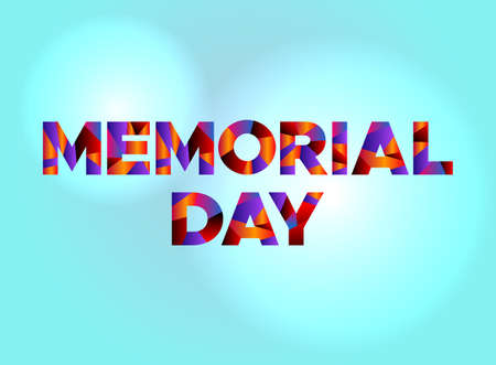 The holiday MEMORIAL DAY written in colorful fragmented word art on a vibrant background. Vector EPS 10 available.