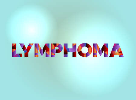 The word LYMPHOMA written in colorful fragmented word art on a vibrant background. Vector EPS 10 available. Ilustracja