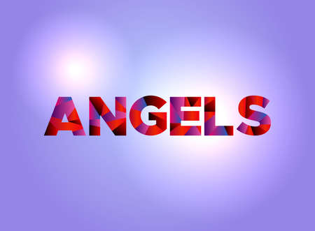 The word ANGELS written in colorful abstract word art on a vibrant background. Vector EPS 10 available. Çizim