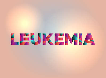 The word LEUKEMIA written in colorful fragmented word art on a vibrant background. Vector EPS 10 available.