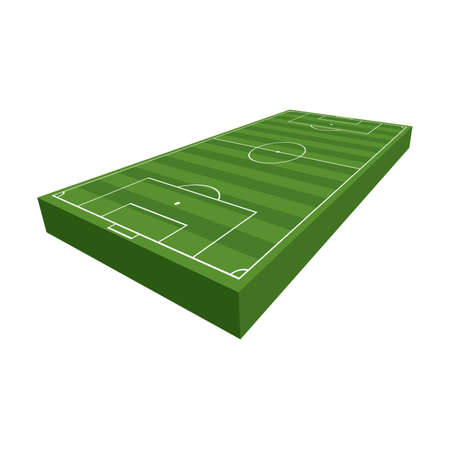 A 3D illustration of a soccer football field with green grass and turf isolated on a white background illustration. Vector EPS 10 available.