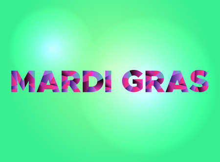 The words MARDI GRAS written in colorful fragmented word art on a vibrant background. Vector EPS 10 available.