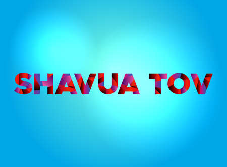 The words SHAVUA TOV written in colorful fragmented word art on a vibrant background. Vector EPS 10 available.
