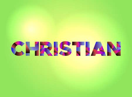 활기찬 배경에 다채로운 조각난 된 word 아트로 작성 된 단어 기독교인. 벡터 EPS 10 사용할 수 있습니다.