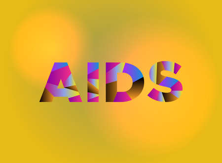 The word AIDS written in colorful fragmented word art on a vibrant background. Vector EPS 10 available. Stock Vector - 88534051