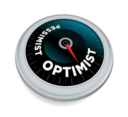 An optimist over pessimist dial meter odometer concept illustration isolated on white. Vector EPS 10 available. 矢量图像