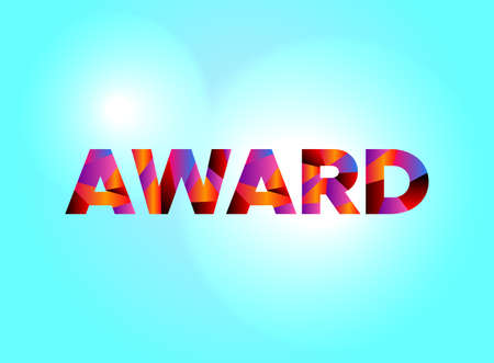 The word AWARD written in colorful fragmented word art on a vibrant background. Vector EPS 10 available. Иллюстрация
