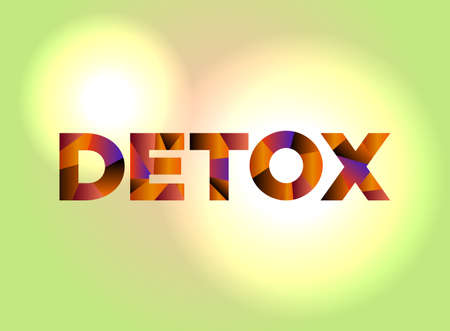 The word DETOX written in colorful abstract word art 矢量图像