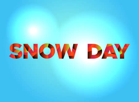 The words SNOW DAY written in colorful fragmented word art. Vettoriali