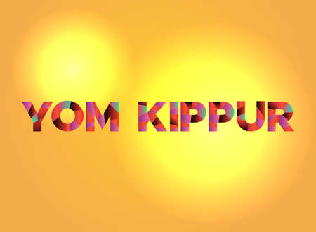 The holiday YOM KIPPUR written in colorful fragmented word art.