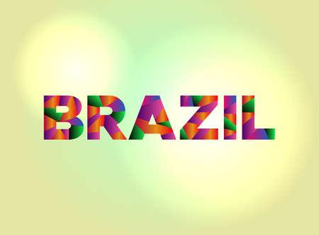 ブラジルのカラフルな抽象的な言葉で書かれた単語。  イラスト・ベクター素材