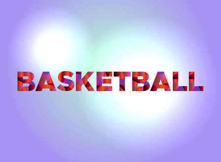 The word BASKETBALL written in colorful fragmented word art.