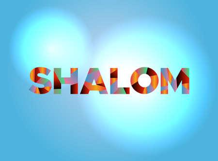 Het woord SHALOM geschreven in kleurrijke gefragmenteerde woordkunst. Stock Illustratie