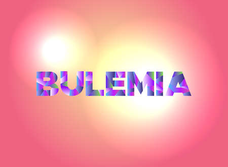 The word BULEMIA written in colorful fragmented word art.