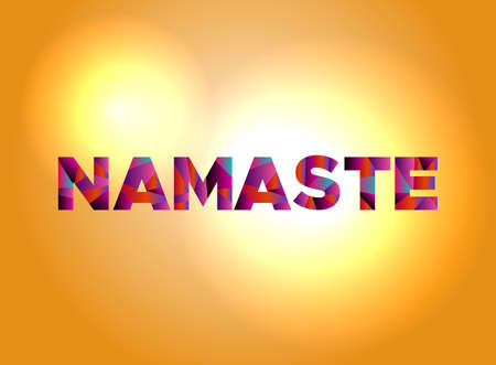 The word NAMASTE written in colorful abstract word art.